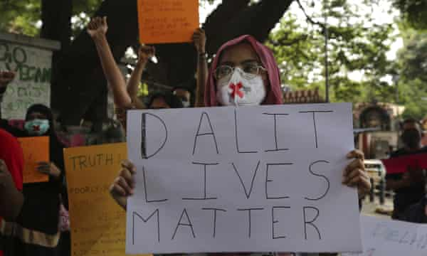A protest condemning the gang rape and death of a Dalit woman in Uttar Pradesh last September.  Dalits, formerly known as