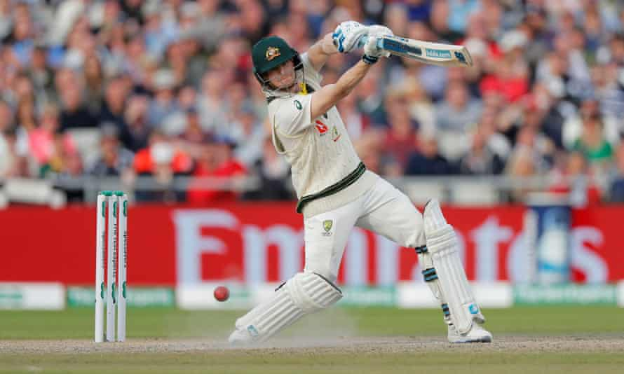 Steve Smith hits another boundary at Old Trafford. 'He's operating on a different level' says Cook.