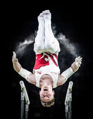 England's Nile Wilson wins silver on the men's parallel bars during the 2018 Commonwealth Games in the Gold Coast, Australia
