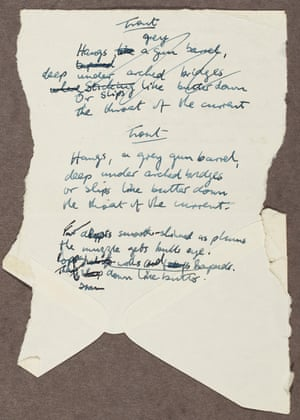 The manuscript of 'Trout' by Seamus Heaney.