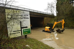 Flooding underneath the A46 at Six Hills Lane in Leicestershire