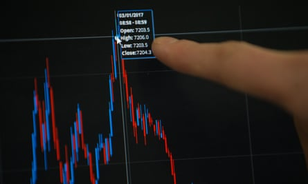 Trader points to screen displaying record high for FTSE 100 on 3 January 2017