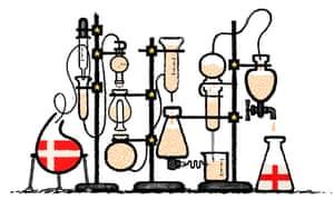 Illustration by David Foldvari of sperm passing through a distillation system.