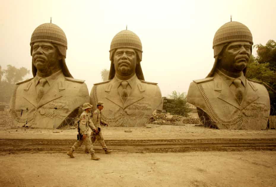 Statues of Saddam Hussein in Baghdad in 2005.