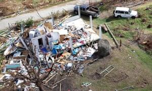 Ruined house on Jost Van Dyke island, British Virgin Isles, after Hurricane Irma, 2017