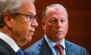 Governor of the Central Bank of Norway, Governor Oystein Olsen (left) and Nicolai Tangen, who was appointed new general manager of the Norges Bank Investment Management, in Oslo, on 28 May 2020.