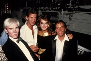 'It was like holding on to a lightning bolt' … Andy Warhol, Calvin Klein, Brooke Shields and Steve Rubell at Studio 54 c.1981.