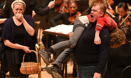 Genuine music drama … Erin Wall as Ellen Orford and Stuart Skelton as Peter Grimes (carrying Samuel Winter as boy apprentice) with the Bergen Philharmonic Orchestra in Peter Grimes, semi-staged at the Royal Festival Hall, London.