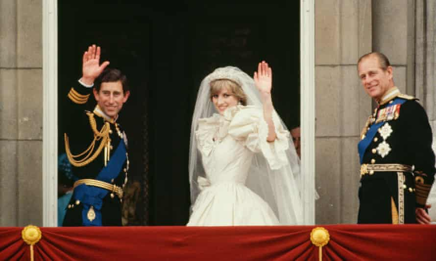Prince Charles, Diana and Prince Philip on the balcony of Buckingham Palace after the couple's wedding