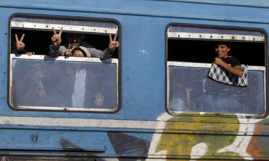 Migrants on train