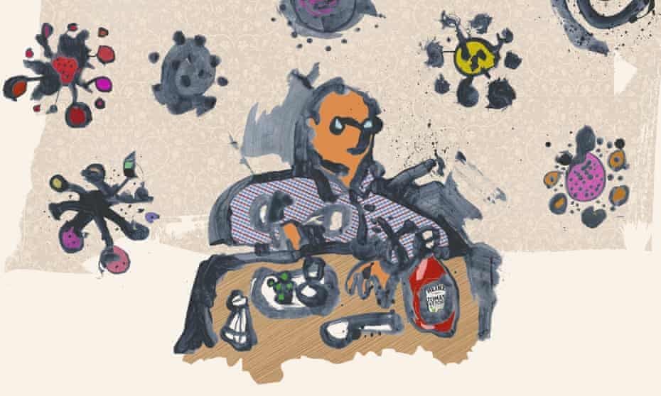 'The virus is frightening': an illustration by Mark Haddon from his graphic short story.