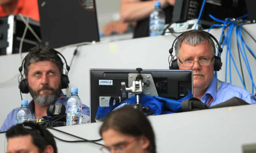 Clive Tyldesley on the right, with co-commentator Andy Townsend to his left, watchin England's Euro 2016 qualifier against Slovenia in June 2015.