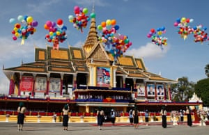 Students release balloons in Phnom Penh, Cambodia
