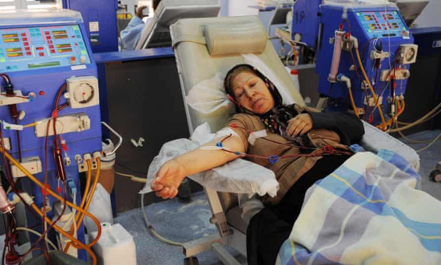 A patient receives dialysis treatment in Tehran, Iran.