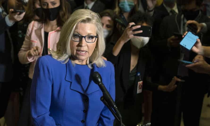 Liz Cheney speaks to reporters after House Republicans voted to oust her from her leadership post.