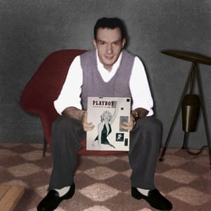 Playboy Magazine founder Hugh Hefner holding the first issue of Playboy featuring actress Marilyn Monroe.