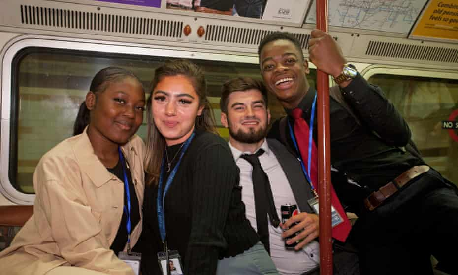 Salespeople Julia, Miriam, Charlie and Emil were among those not wearing masks on the tube