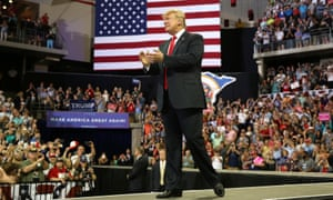 President Donald Trump addressing supporters in Duluth, Minnesota.