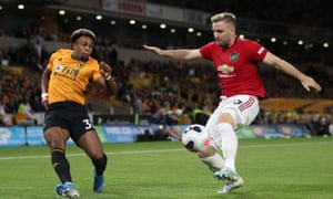 Adama Traoré and Luke Shaw, Wolves v Manchester United