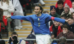 Giampaolo Pazzini celebrates scores his hat-trick for Italy Under-21s at Wembley