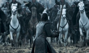 Jon Snow reduced to swinging his sword frantically and panicking in the Battle of the Bastards.