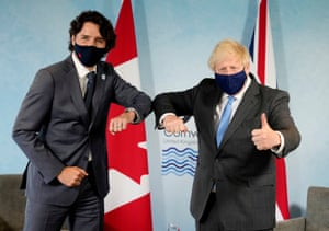 Boris Johnson (right) with Justin Trudeau at the G7.
