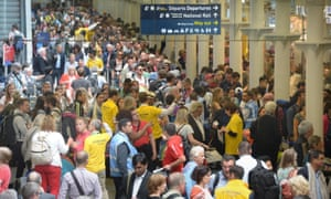 Passengers wait to board Eurostar trains at St Pancras International, London. The strike has caused travel chaos across France and the UK.