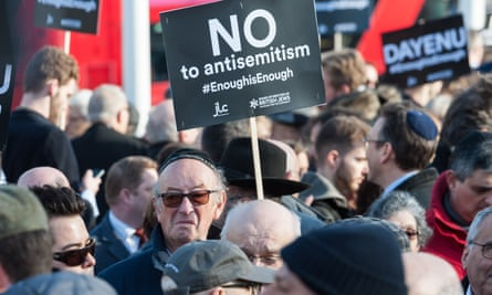 A protest in Parliament Square against antisemitism in the Labour party on 26 March.
