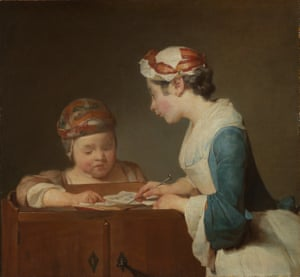 The Young Schoolmistress, about 1737, by Jean-Siméon Chardin.