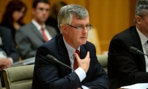 Treasury secretary Martin Parkinson during senate economics estimates hearing in Canberra,Tuesday, June 4, 2014.  (AAP Image/Alan Porritt) NO ARCHIVING