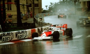 Alain Prost races in the rain at Monaco