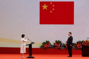 Carrie Lam takes her oath in front of Chinese President Xi Jinping in Hong Kong, July 2017.