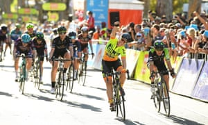 Chloe Hosking and Alé Cipollini celebrate after winning Stage 4 of the Women's Tour Down Under on 14 January in Adelaide.