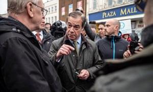 Nigel Farage campaigning in Dudley.