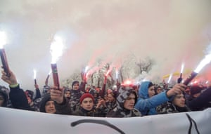 Kiev, UkraineNationalists burn flares and smoke grenades during their rally in front of Parliament building. The President of Ukraine Petro Poroshenko at a meeting of the National Security and Defense Council on 25 November 2018 announced the decision to introduce martial law in Ukraine