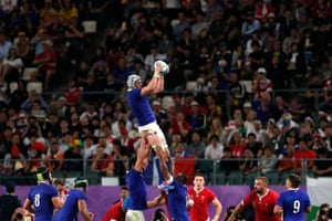 France's Bernard Le Roux gathers the lineout.