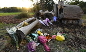 Flowers left at the site where Courtney Herron's body was found in Royal Park, Melbourne