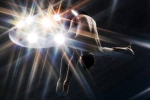 Canada's Francois Imbeau-Dulac performs a dive during the mens 5m synchro springboard final of the diving world series at the Olympic Aquatics Centre in London.