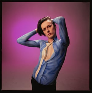 Suede's Brett Anderson in body paint that took six hours to apply for an NME cover shoot in 1993
