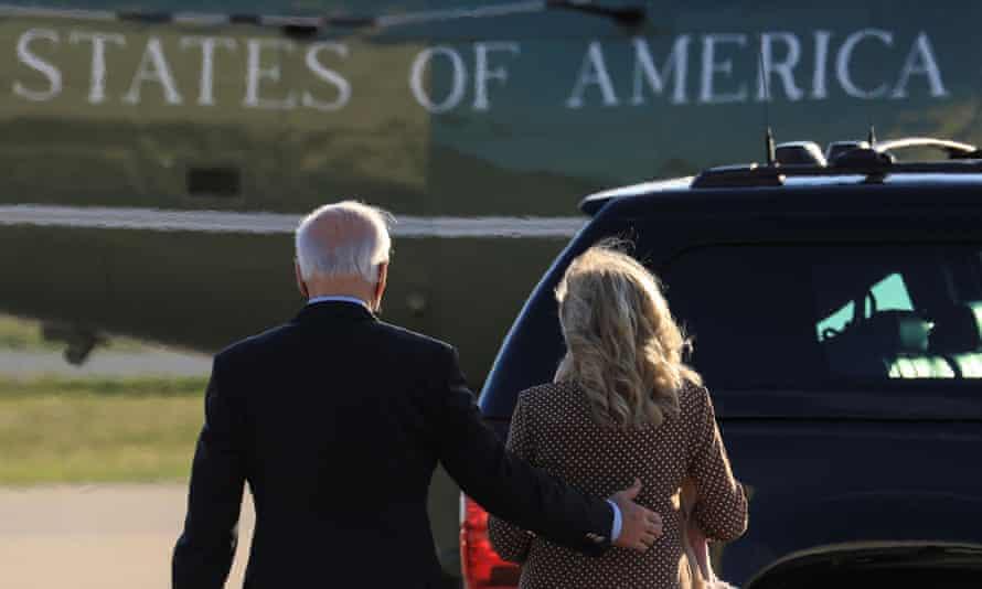 Joe and Jill Biden arrive in Delaware on Saturday for a weekend trip home.