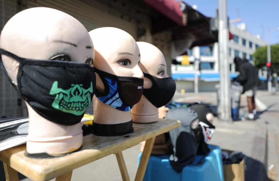 Face masks for sale in Los Angeles, California.