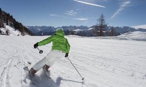 A skier at Pejo 3000 in Val di Sole Trentino, Italy.