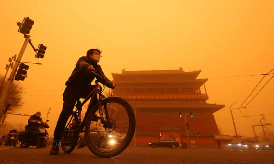 A heavy sandstorm in Beijing in March. Solving the problem of climate change is a priority for China and the US but it could still spark confrontation.