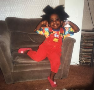 Full of promise: Stephanie Yeboah at home around 1992, as a happy three year old.