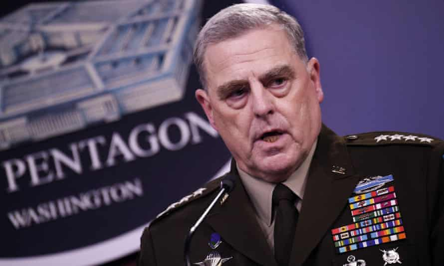 Joe Biden voiced 'great confidence' in Gen Mark Milley, chair of the joint chiefs of staff.