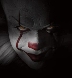 A publicity image of Bill Skarsgård as Pennywise in the new film version of It.