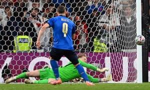 England goalkeeper Jordan Pickford saves the penalty from Andrea Belotti.