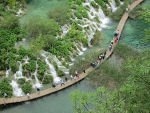 Plitvicka National Park. Croatia. June 2015Wooden pathway, wet, slippery, and no handrail, but spectacular!