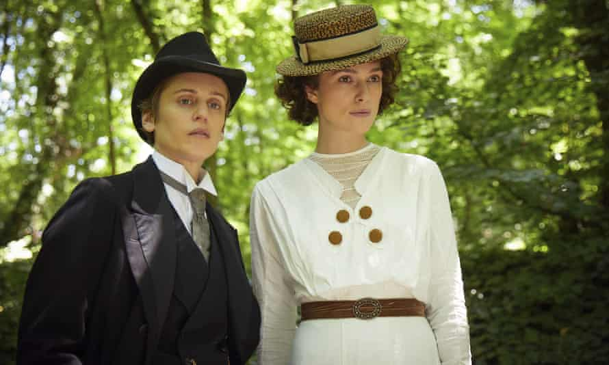 Denise Gough (left) and Keira Knightley in a scene from Colette, a biopic of the queer writer.