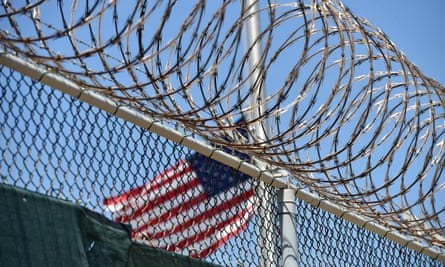 A razor wire-topped fence at the Guantanamo Bay detention centre